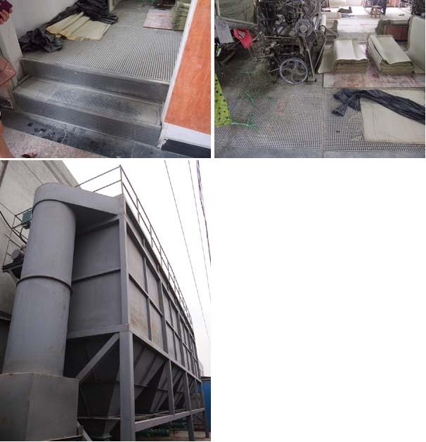 床を50センチ上げ、その空間に埃を吸い込むように、メッシュの鉄板を敷き詰めて床下に 埃を集める製織工場の集塵装置。