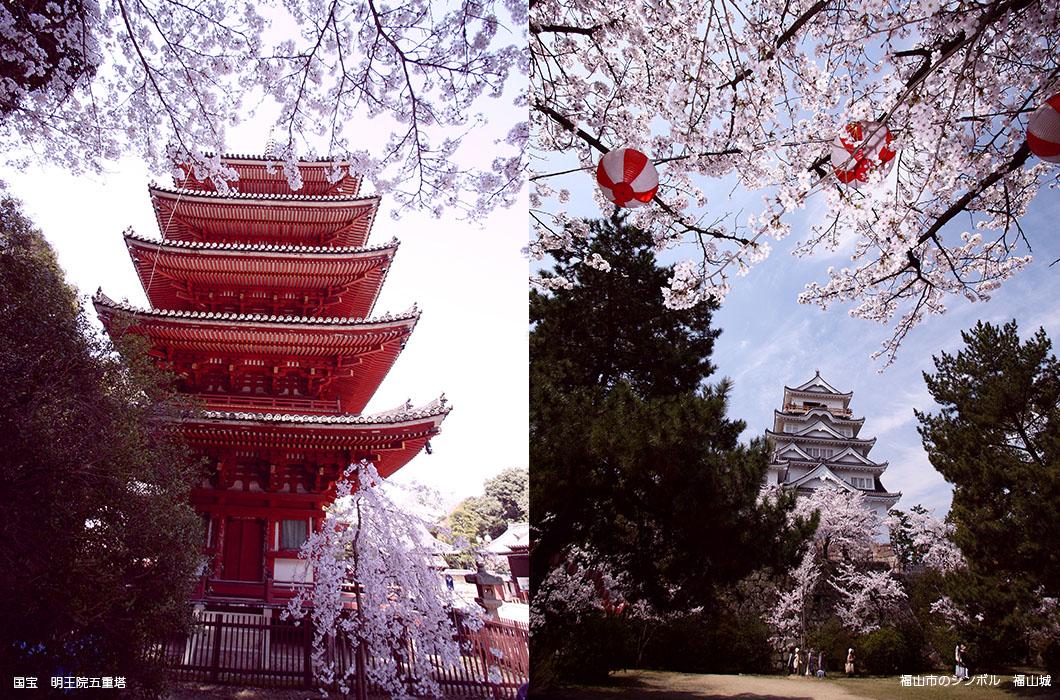 左:国宝 明王院五重塔 右:福山市のシンボル 福山城